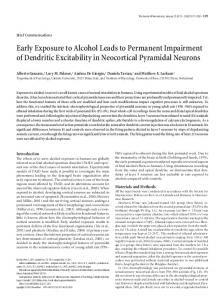 Early Exposure to Alcohol Leads to Permanent Impairment of Dendritic ...