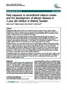 Early exposure to secondhand tobacco smoke and the ... - ScienceOpen