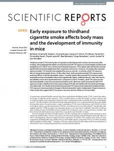 Early exposure to thirdhand cigarette smoke affects ...