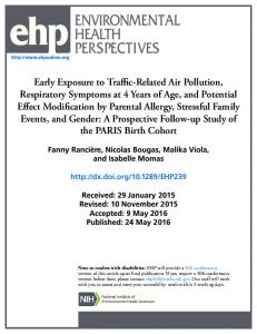 Early Exposure to Traffic-Related Air Pollution, Respiratory Symptoms ...