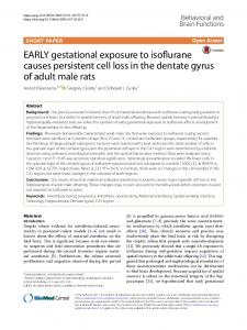 EARLY gestational exposure to isoflurane causes persistent cell loss ...