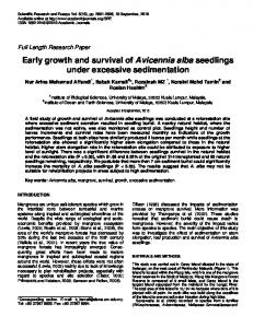 Early growth and survival of Avicennia alba seedlings under excessive ...