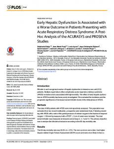 Early Hepatic Dysfunction Is Associated with a Worse Outcome ... - Plos