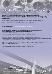 Early Hydration of Portland Cement Admixed with ... - J-Stage