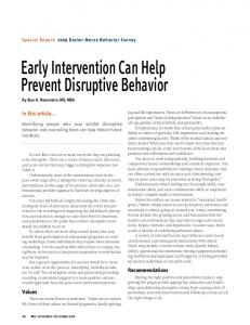 Early Intervention Can Help Prevent Disruptive Behavior