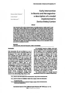 Early intervention in Bosnia and Herzegovina - International Journal of ...