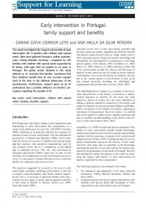 Early intervention in Portugal: family support and