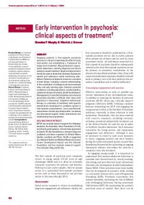 Early intervention in psychosis: clinical aspects of ... - BJPsych Advances