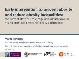 Early intervention to prevent obesity and reduce ...