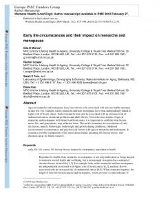 Early life circumstances and their impact on menarche ...