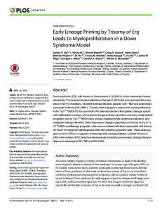 Early Lineage Priming by Trisomy of Erg Leads to ... - PLOS