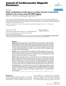 Early manifestation of alteration in cardiac function in dystrophin