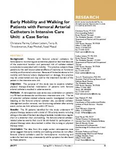 Early Mobility and Walking for Patients with Femoral