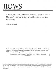 Early Modern - The Journal of Indian Ocean World Studies - McGill ...