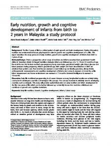 Early nutrition, growth and cognitive development of infants from birth ...