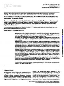 Early Palliative Intervention for Patients with ...