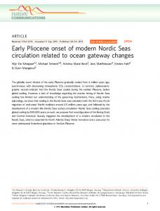 Early Pliocene onset of modern Nordic Seas circulation related to ...