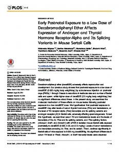 Early Postnatal Exposure to a Low Dose of ... - Semantic Scholar
