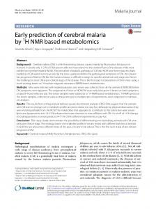 Early prediction of cerebral malaria by 1H NMR based ... - Core