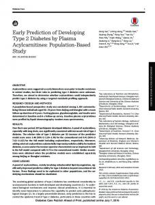 Early Prediction of Developing Type 2 Diabetes by ... - Diabetes Care