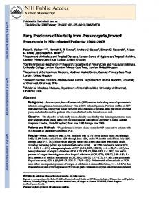 Early Predictors of Mortality from Pneumocystis jirovecii Pneumonia in ...