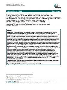 Early recognition of risk factors for adverse outcomes during ...