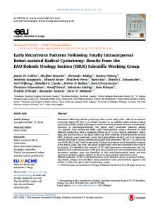 Early Recurrence Patterns Following Totally ... - European Urology