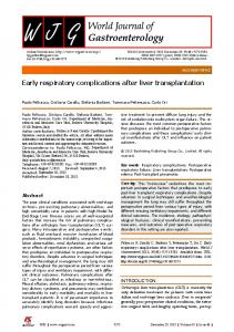 Early respiratory complications after liver transplantation - Baishideng ...