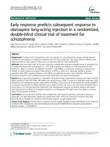 Early response predicts subsequent response to ... - ScienceOpen