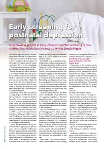 Early screening for postnatal depression