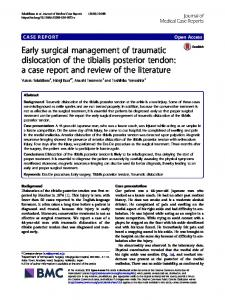 Early surgical management of traumatic dislocation of
