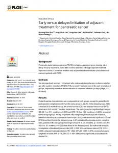 Early versus delayed initiation of adjuvant treatment for ... - PLOS