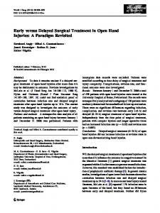 Early versus Delayed Surgical Treatment in Open Hand Injuries: A ...