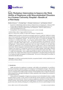 Early Workplace Intervention to Improve the Work Ability of ... - MDPI