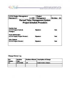 Earned Value Management System Project Schedule Procedure