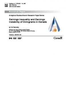 Earnings Inequality and Earnings Instability of Immigrants in Canada