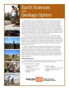 Earth Sciences Geology Option - Oregon State University