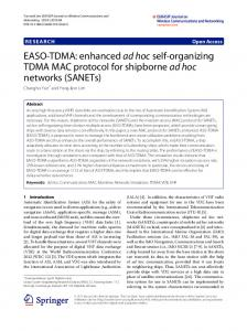 EASO-TDMA: enhanced ad hoc self-organizing TDMA MAC protocol ...