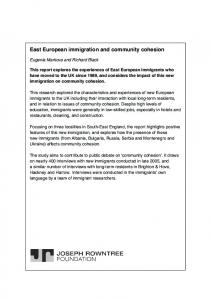 East European immigration and community cohesion