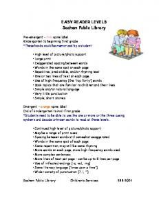 EASY READER LEVELS - Sachem Public Library