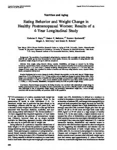 Eating Behavior and Weight Change in Healthy Postmenopausal ...