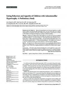 Eating Behaviors and Appetite of Children with Adenotonsillar ...