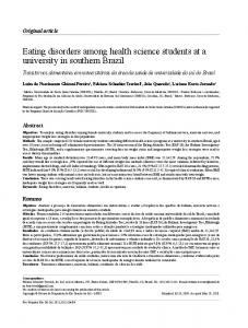 Eating disorders among health science students at a ... - SciELO