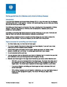 Eating guidelines for diabetes and chronic kidney disease