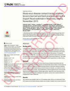 Ebola virus disease contact tracing activities, lessons learned and best ...