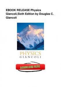 EBOOK RELEASE Physics Giancoli,Sixth Edition by