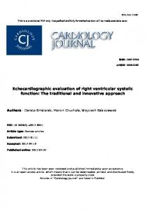 Echocardiographic evaluation of right ventricular ... - Semantic Scholar