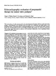 Echocardiographic evaluation ofpropranolol therapy for mitral valve ...