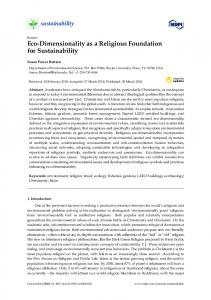 Eco-Dimensionality as a Religious Foundation for Sustainability - MDPI