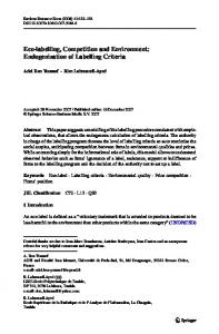 Eco-labelling, Competition and Environment ... - Springer Link